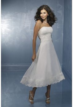 Tea- length satin with lace appliqued wedding dress(new arrival)