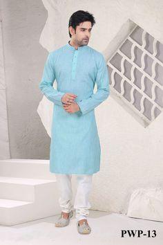 Light Aqua  Blue Poly Cotton Readymade Kurta with Churidar