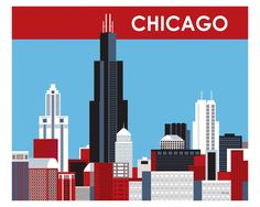 Chicago red, white, and blue art print is available in an array of finishes, materials, and sizes, this retro inspired wall art will make Chicago feel close to your heart with its bright color palette