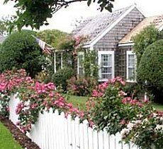 A  rose-draped cape cod design  on  the  island  of Nantucket