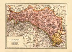 Galicia and Bukovina (provinces of Austria-Hungary), 1900 Austria, Ukraine, Old Maps, Family History, Hungary, Vintage World Maps, Greenwich Village, Gypsy Soul, Genealogy