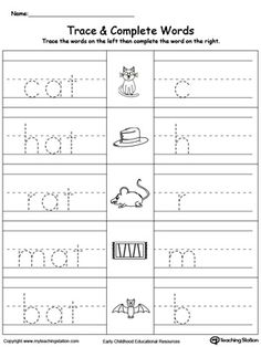 AT Word Family Trace and Write: Encourage your child to practice writing by tracing the words first, then writing the words themselves.