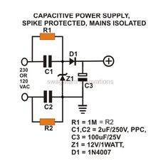 Transformerless Power Supply, AC Mains Isolated, Spike Protected Circuit Diagram, Image