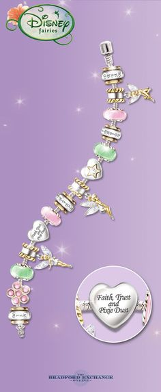 """""""Celebrate the magic of Tinker Bell with this dazzling Disney charm bracelet. 14 interchangeable charms express your love of imagination with a special dose of faith, trust and pixie dust. If you're a Tinker Bell fan, you don't want to miss it. Disney Pandora Bracelet, Pandora Charms Disney, Disney Jewelry, Pandora Bracelets, Pandora Jewelry, Charm Jewelry, Tinkerbell Fairies, Tinkerbell Disney, Disney Fairies"""