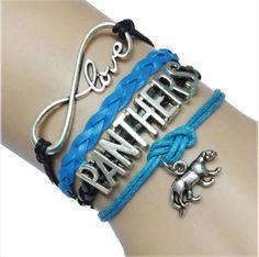 Carolina Infinity Love Panther Pendant Bracelet