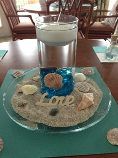 centerpiece for beach theme bridal shower :)