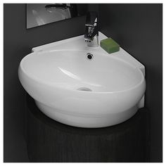 CeraStyle by Nameeks Mini Corner Ceramic Oval Corner Sink Bathroom Sink Corner Sink Bathroom, Small Bathroom Sinks, Undermount Bathroom Sink, Tiny Bathrooms, Modern Bathroom, Modern Sink, Bathroom Ideas, Kitchen Sinks, Bathroom Vanities