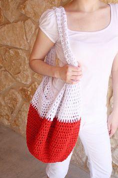 Red Crochet Beach Bag