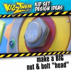 "Make a BIG bolt ""head"" classic industrial kid-set element. make a bunch, and decorate the walls! use 3/4"" MDF board... - INSTAGRAM VIDEO - (click to play) -  for full description follow Instagram Link -  #kidsetdesign #kidmin #kidschurch #vbs #kidsministry"