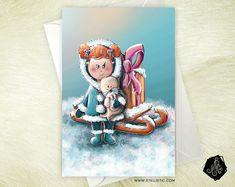 Carte de voeux Noël Nouvel An Amitié Anniversaire Petite fille esquimau et cadeau