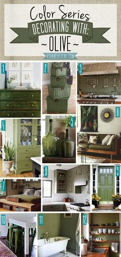Color Series; Decorating with Olive. Olive Green home decor | A Shade Of Teal