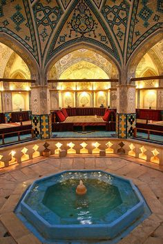 Sultan Amir Ahmad Bathhouse, constructed in the 16th century, Iran. Part of the bathouse is being used as a tea house