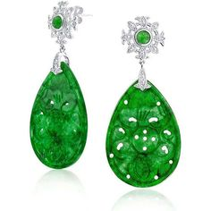 Bling Jewelry Imperial Jade Drops (8620 RSD) ❤ liked on Polyvore featuring jewelry, earrings, dangle-earrings, green, carved jade jewelry, jade jewellery, jade jewelry, green jade earrings and jade earrings