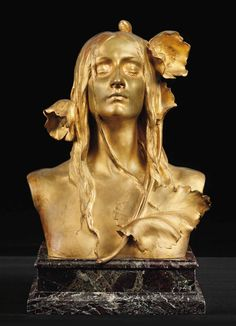 Ophelia.c.1900. Gilt bronze on marble plinth 42.5 cm high. Source : Christies. Art by Maurice Bouval.(1863-1920).