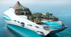 The fascinating tropical island yacht project is designed by the UK based yacht design company Yacht Island Designs. The floating tropical island would be Yacht Design, Dream Vacations, Vacation Spots, Most Expensive Yacht, Places To Travel, Places To See, Tropical Island, Yacht Cruises, Island Design