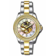 Invicta 16702 Women's Angel Mechanical White & Gold Skeleton Dial Two Tone Steel Watch