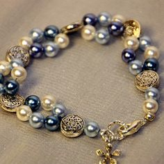 Blue and white pearl bracelet with silver plated by Craftymouse.co.uk , £10.99