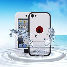 awesome Comsoon(TM) Waterproof Case for Apple iPod Touch 5th Generation Waterproof Heavy Duty Defender iPod Touch 5 Case, iPod 5 Cases For Boys Girls Kids, Built-in Touch Screen Protector for Better Shockproof Dirtproof Snowproof Dustproof Sweatproof, Kickstand for Viewing Hands Free (White)