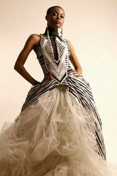 African print inspired wedding dress
