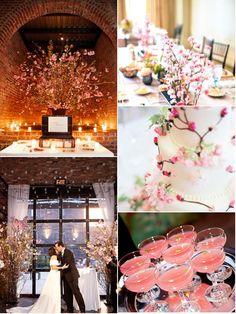 Cherry blossom wedding ideas - ideas para boda en colores blanco y rosa (cerezo en flor)