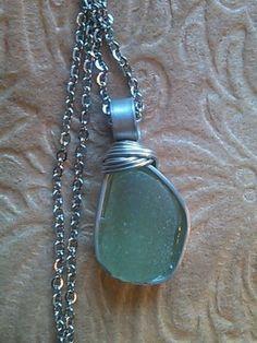 "Sea Glass Jewelry Necklace 24 "" BEACH HandMade Wire Wrap Rustic UNISEX Unique #Handmade #Pendant"