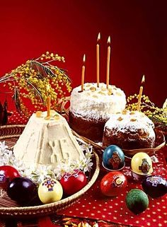 Get ready for Russian Orthodox Easter! Holiday Kulich - sweet bread to resemble the golden domes of orthodox churches. Holiday Paska with the words XB - meaning christ has risen. Easter Eggs - colorful loveliness :) #holiday #history #knowledge