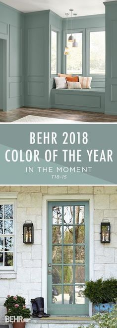 Introducing the BEHR 2018 Color of the Year: In The Moment. With undertones of b… Introducing the BEHR 2018 Color of the Year: In The Moment. With undertones of blue, gray, and green, this calming paint color helps to create a relaxing space in your home, House Exterior, Room Colors, Interior And Exterior, Calming Paint Colors, Door Color, House Painting, New Homes, House Colors, House