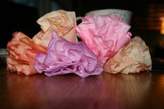 Coffee filter flowers - maybe too much work? But pretty :)   http://www.thebrokeassbride.com/2011/01/do-it-yourself-easy-cheap-wedding-diy-flower-bouquet/