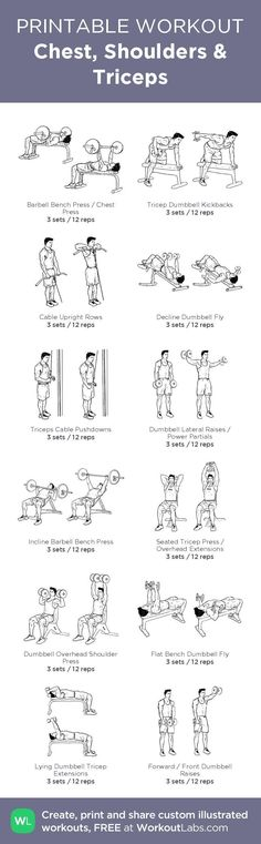 "Tuesday & Wednesday Chest, Shoulders & Triceps – illustrated exercise plan - ""Blow Up"" Your Chest Muscles & Literally Force It Into Rapid Growth Using This Specialized Workout Course Zumba Fitness, Muscle Fitness, Fitness Foods, Muscle Nutrition, Muscle Food, Men's Fitness, Gain Muscle, Build Muscle, Chest Workouts"