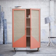 KYOTO closet in solid beech with sliding cane doors - COLONEL