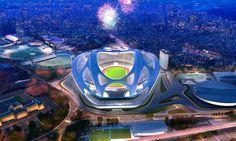 zaha hadid: new national stadium of japan venue for tokyo 2020 olympics - designboom Stadium Architecture, A As Architecture, Organic Architecture, Contemporary Architecture, Zaha Hadid Architects, 2020 Summer Olympics, Tokyo Olympics, Tokyo Skytree, Arquitetura