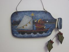 """Ship to Shore"".My Xmas version of a ""Ship in a Bottle."" Ornament of the Month Christmas Tree Ornaments, Christmas Ideas, Christmas Crafts, Xmas, Painted Fences, Tole Painting, Painting Patterns, Paint Brushes, Paint Ideas"