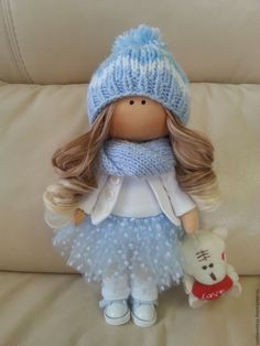 Купить интерьерная кукла - голубой, интерьерная кукла, интерьерная игрушка, кукла ручной работы