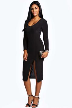 08ed3140cb4c9 20E perfect plunge slit below-the-knee dress. Ruth Slinky Plunge Midi Dress