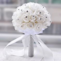 Venda quente Handmade Branco Marfim Nupcial Da Dama de Honra Da Flor Do Casamento Buquê de Flores Artificiais Bouquet Broche de Cristal buquês De Noiva em Bouquets de casamento de Casamentos & Eventos no AliExpress.com   Alibaba Group