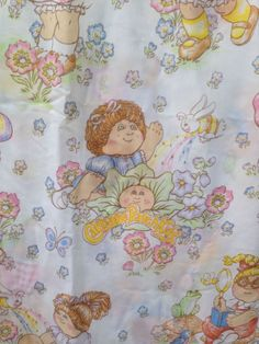 Vintage Cabbage Patch Kids Full Bed Flat Sheet 1983 OAA Inc Craft Fabric #OOAInc