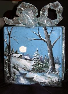 winter... painted on a glass block