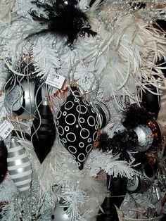 black and white christmas tree via flickr white christmas ornaments dark christmas colorful christmas