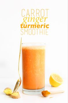 AMAZING 7 ingredient Carrot Ginger Turmeric Smoothie Immune boosting anti inflammatory and DELICIOUS vegan glutenfree recipe healthy minimalistbaker Smoothies Vegan, Carrot Smoothie, Turmeric Smoothie, Juice Smoothie, Smoothie Drinks, Detox Drinks, Healthy Drinks, Detox Smoothies, Healthy Recipes