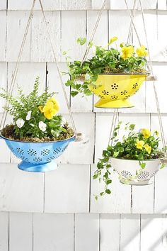 50 Ideas for DIY Garden Decorations and Creative Gardening with Hanging Flower Pots Hanging Flower Pots, Hanging Planters, Hanging Baskets, Diy Spring, Diy Garden Decor, Garden Decorations, Flower Decoration, Easy Garden, Garden Planters