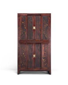 이층조각의걸이장 二層彫刻衣欌  1894  호두나무, 오동나무, 소나무  93×43×169.5(h)cm  케이옥션-메이저 경매 Wardrobe Dresser, Wooden Wardrobe, Steel Furniture, Antique Furniture, Korean Traditional, Architecture Old, Wood Design, Tall Cabinet Storage, Auction