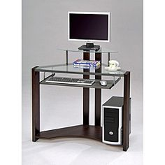 @Overstock.com - Cherry-finished Four-shelf Computer Desk - This compact, glass computer desk is the perfect space-saving solution for your home office. Featuring a hardwood cherry frame and two glass shelves, this desk will fit nicely in a corner without appearing cluttered.  http://www.overstock.com/Home-Garden/Cherry-finished-Four-shelf-Computer-Desk/6408816/product.html?CID=214117 $129.99