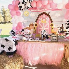 A cute, pink cowgirl farm themed birthday party 2nd Birthday Party For Girl, Horse Birthday Parties, Farm Animal Birthday, Girl Birthday Themes, Farm Birthday, Petting Zoo Birthday Party, Birthday Ideas, Cowgirl Birthday, Birthday Banners
