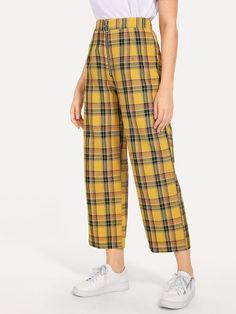 SHEIN offers Plaid Zip Front Pants & more to fit your fashionable needs. Satin Pyjama Set, Pajama Set, Tartan Pants, Womens Pyjama Sets, Cool Outfits, Fashion Outfits, Cute Pajamas, Type Of Pants, Trendy Swimwear