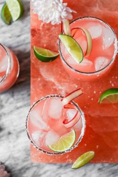 Tart, refreshing, and naturally sweetened, these Rhubarb Margaritas are perfect for spring and summer! Plus, requiring just 7 ingredients, these are easy to make too! #margaritaweek #margarita #rhubarb #cocktail | from Lauren Grant of Zestful Kitchen