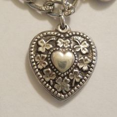 Walter Lampl Sterling Silver Puffy Heart Charm Heart-Within-a-Heart - Shamrocks and Clover