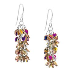 -Shaggy Dragon Earrings - Cluster earrings made with new Dragon scale seed beads.  For shorter length use fewer clusters. Stunning!