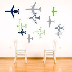 Airplane Wall Decal - Aviation Childrens Bedroom Wall Decor Sticker - Boy Vinyl Wall Art - Plane Silhouette - CB112A. $48.00, via Etsy.