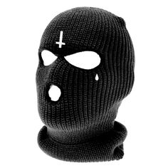 Acrylic Balaclava Inverted Cross Embroidery Tear Drop Embroidery Wash at Toca Ninja, Ski Mask Tattoo, Graphic Design Typography, Logo Design, Ski Lodge Decor, Balaclava, Masked Man, Aesthetic People, Masks Art