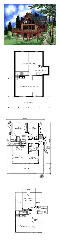 Hillside House Plan 1552 sq. ft., 3 bedrooms and 2.5 bathrooms. #hillsidehome
